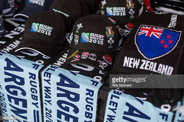 Rugby World Cup merchandise is seen on sale near Wembley Stadium ahead of the 2015 Rugby World Cup Pool C fixture between New Zealand and Argentina...