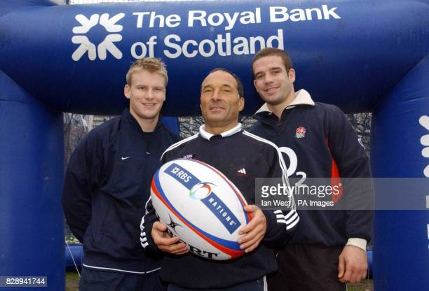 Rugby World Cup winners Stuart Abbott and Joe Worsley pose for photographers with kicking coach Dave Alred as part of the 'Kick for an RBS 6 Nations...