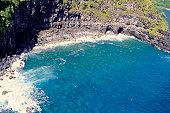 Rugged coastline, aerial view