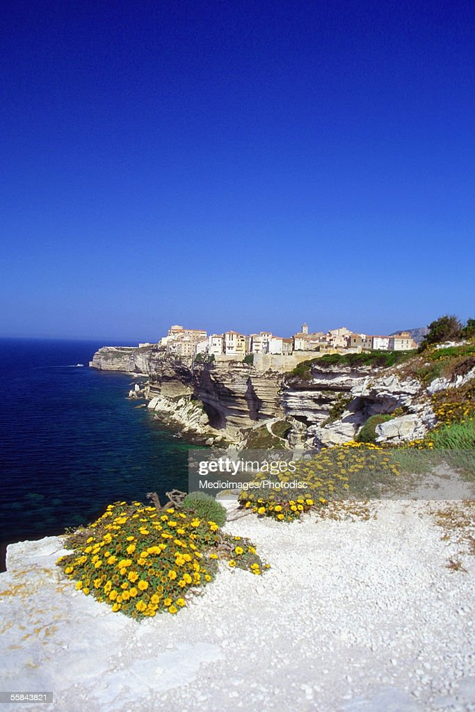 Rugged coastline and cliffs, Corsica, France : Stock Photo