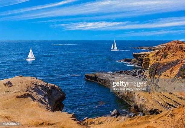 Zerklüftete Küste Point Loma Sunset Cliffs Park, San Diego, Tel.