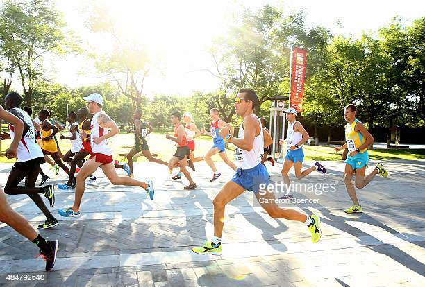 Ruggero Pertile of Italy runs during the Men's Marathon during day one of the 15th IAAF World Athletics Championships Beijing 2015 on August 22 2015...
