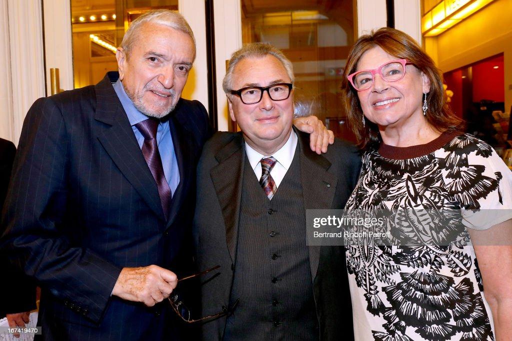 Ruggiero Raimondi, Jean-Marie Fournier and Isabelle Raimondi attend Salle Gaveau 105th Anniversary on April 24, 2013 in Paris, France.