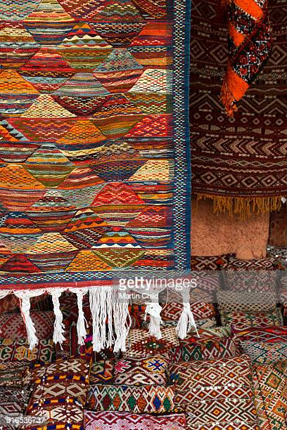 Rugs and cushions in the souks of Marrakech