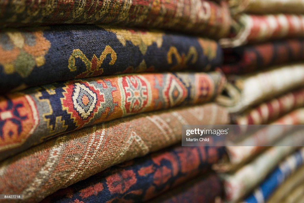 rugs for sale at the Grand Bazaar : Stock Photo
