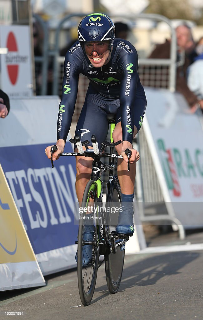 Rui Alberto Costa of Portugal and Team Movistar rides during the prologue of 2.9 km of the 2013 Paris-Nice on March 3, 2013 in Houilles, Yvelines, France.