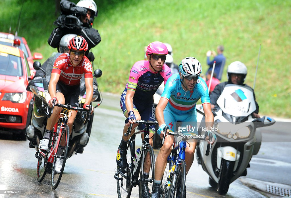 Rui Alberto Costa of team LAMPRE - MERIDA, <a gi-track='captionPersonalityLinkClicked' href=/galleries/search?phrase=Vincenzo+Nibali&family=editorial&specificpeople=770634 ng-click='$event.stopPropagation()'>Vincenzo Nibali</a> of team ASTANA PRO TEAM compete during Stage Six of the Criterium du Dauphine on June 12, 2015 in Saint Bonnet en Champsaur, France.