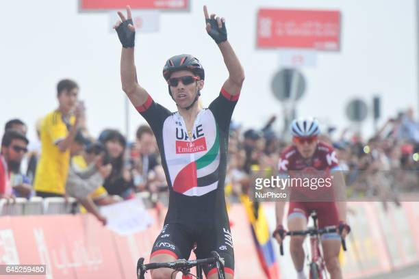 Rui Costa from UAE Abu Dhabi Team wins the third stage a 186km Al Maryah Island Stage from Al Ain to Jebel Hafeet On Saturday February 25 in Jebel...