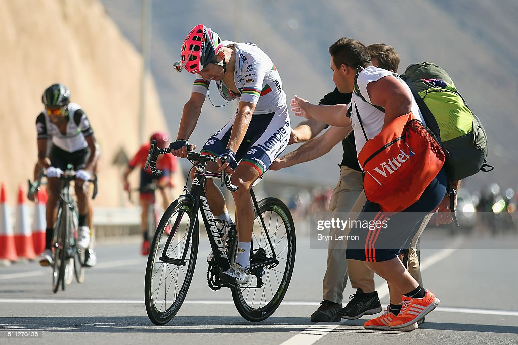 <a gi-track='captionPersonalityLinkClicked' href=/galleries/search?phrase=Rui+Costa+-+Cyclist&family=editorial&specificpeople=11424857 ng-click='$event.stopPropagation()'>Rui Costa</a> of Portugal and Lampre Merida crosses the finish line on stage four of the 2016 Tour of Oman, a 177km road stage from Knowledge Oasis Muscat to Jabal Al Akhdhar (Green Mountain) on February 19, 2016 in Jabal Al Akhdhar, Oman.