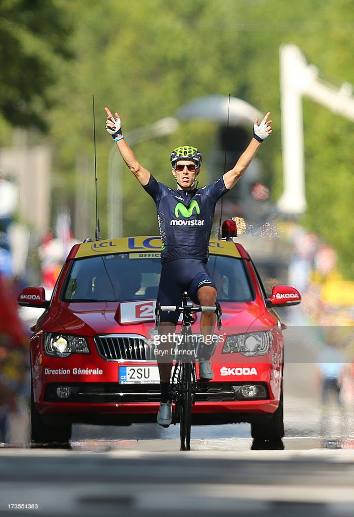 Rui Costa of Portugal and Movistar Team celebrates winning stage sixteen of the 2013 Tour de France, a 168KM road stage from Vaison-la-Romaine to Gap, on July 16, 2013 in Gap, France.