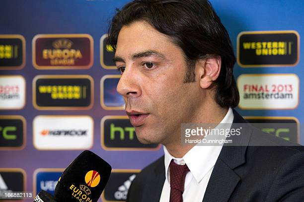 Rui Costa of SL Benfica looks on during an interview after to the UEFA Champions League and UEFA Europa League semifinal and final draws at the UEFA...