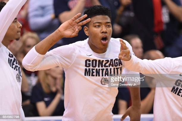Rui Hachimura of the Gonzaga Bulldogs celebrates a basket by his team against the Northwestern Wildcats during the second round of the 2017 NCAA...