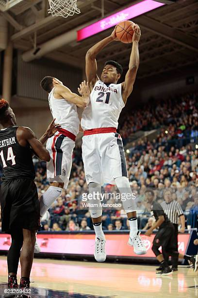 Rui Hachimura of the Gonzaga Bulldogs controls a rebound against the San Diego State Aztecs in the second half at McCarthey Athletic Center on...