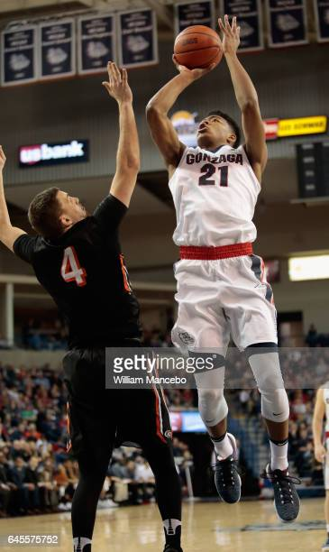 Rui Hachimura of the Gonzaga Bulldogs goes to the basket against Tonko Vuko of the Pacific Tigers in the second half at McCarthey Athletic Center on...
