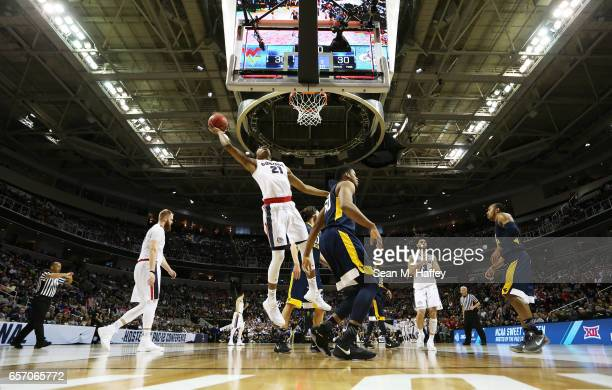 Rui Hachimura of the Gonzaga Bulldogs goes up against the West Virginia Mountaineers in the first half during the 2017 NCAA Men's Basketball...