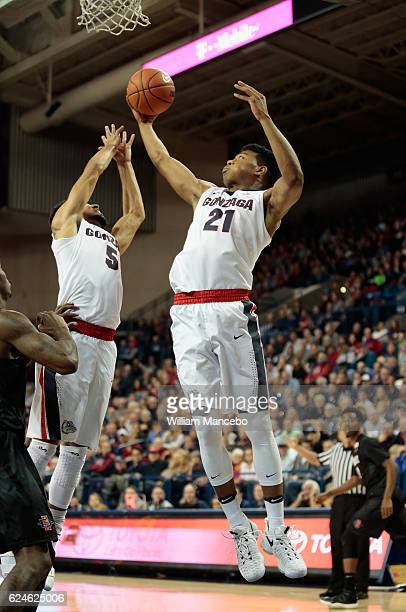 Rui Hachimura of the Gonzaga Bulldogs grabs a rebound against the San Diego State Aztecs in the second half at McCarthey Athletic Center on November...