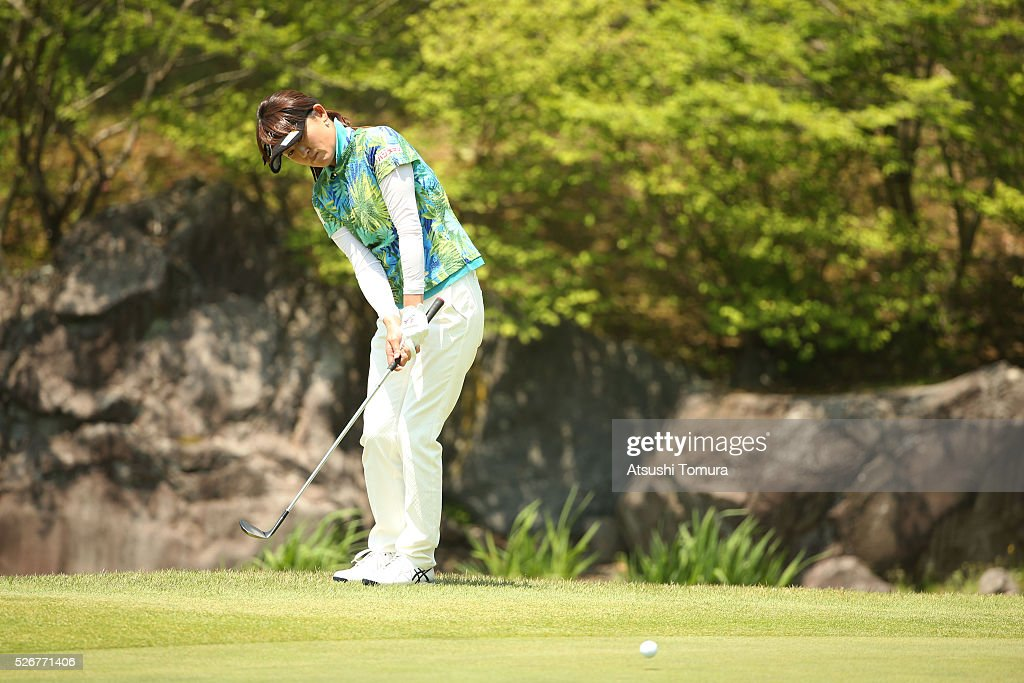 Rui Kitada of Japan chips onto the 9th green during the final round of the CyberAgent Ladies Golf Tournament at the Grand Fields Country Club on May 1, 2016 in Mishima, Japan.