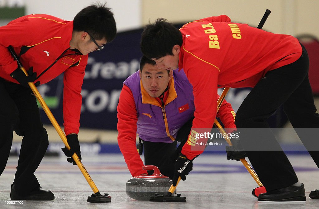 Rui Liu of China in action during the Pacific Asia 2012 Curling Championship at the Naseby Indoor Curling Arena on November 23, 2012 in Naseby, New Zealand.