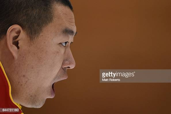 Rui Liu of China shouts instructions to the sweepers during the men's gold medal game betweem China and Japan on day seven of the 2017 Sapporo Asian...