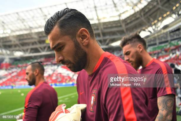 Rui Patricio of Portugal is seen prior to the FIFA Confederations Cup Russia 2017 Group A match between Portugal and Mexico at Kazan Arena on June 18...