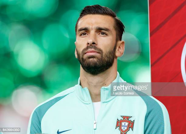 Rui Patricio of Portugal listens to the anthems prior to the FIFA 2018 World Cup Qualifier match between Hungary and Portugal at Groupama Arena on...