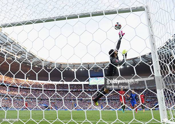 Rui Patricio of Portugal makes a save the UEFA EURO 2016 Final match between Portugal and France at Stade de France on July 10 2016 in Paris France