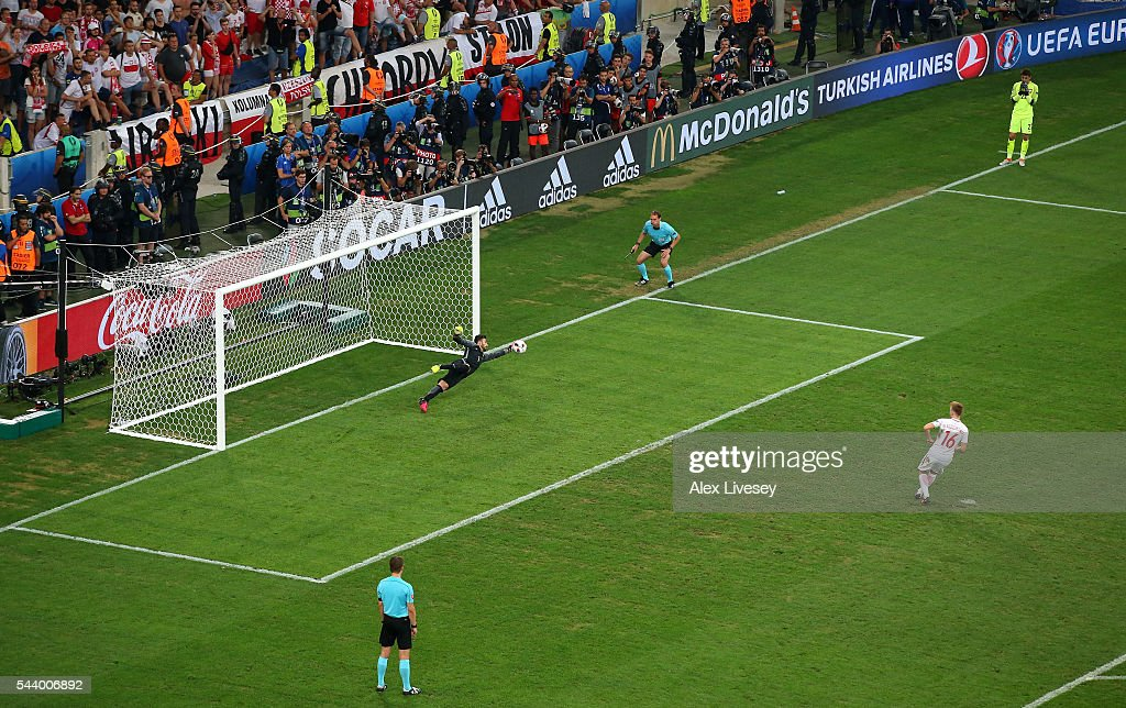 <a gi-track='captionPersonalityLinkClicked' href=/galleries/search?phrase=Rui+Patricio&family=editorial&specificpeople=1728312 ng-click='$event.stopPropagation()'>Rui Patricio</a> of Portugal saves a penalty by <a gi-track='captionPersonalityLinkClicked' href=/galleries/search?phrase=Jakub+Blaszczykowski&family=editorial&specificpeople=2290714 ng-click='$event.stopPropagation()'>Jakub Blaszczykowski</a> of Poland during the UEFA EURO 2016 quarter final match between Poland and Portugal at Stade Velodrome on June 30, 2016 in Marseille, France.