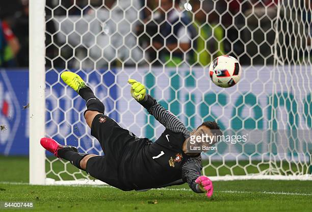Rui Patricio of Portugal saves a penalty by Jakub Blaszczykowski of Poland at the penalty shootout during the UEFA EURO 2016 quarter final match...