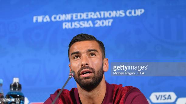 Rui Patricio speaks to the media during the Portugal Training and Press Conference on June 17 2017 in Kazan Russia