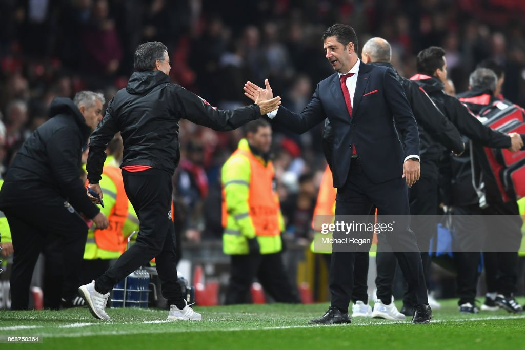 Rui Vitoria of Benfica reacts after the UEFA Champions League group A match between Manchester United and SL Benfica at Old Trafford on October 31, 2017 in Manchester, United Kingdom.