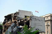 Ruin of Bombed Building - Belgrade - Serbia