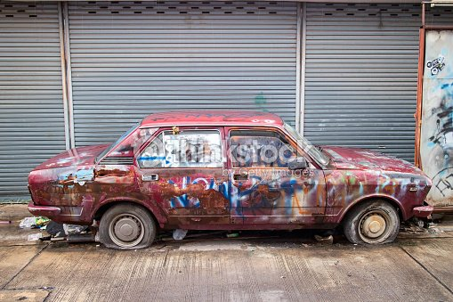 Ruin Retro Car Is Scred On Street Stock Photo