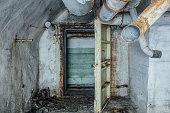 Ruined abandoned Soviet bunker, echo of Cold War under Sevastopol