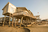 Ruined beachfront homes on Pirate's Beach near jamaica Beach on the west end almost two weeks after the Hurricane Ike hit the barrier island off the...