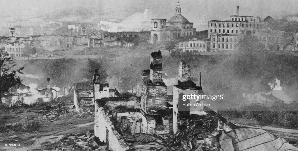 Ruined buildings in the Russian city of Smolensk around the time of its liberation by the Red Army Soviet Union World War II 1943