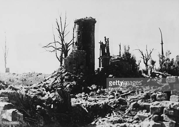 A ruined church on the Volkhov Front after heavy fighting between German and Soviet forces during the Siege of Leningrad former Soviet Union circa...