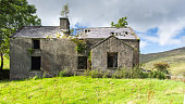 A derelict mountainside cottage in the Ballaghbeama Gap mountain pass in Ireland's County Kerry.