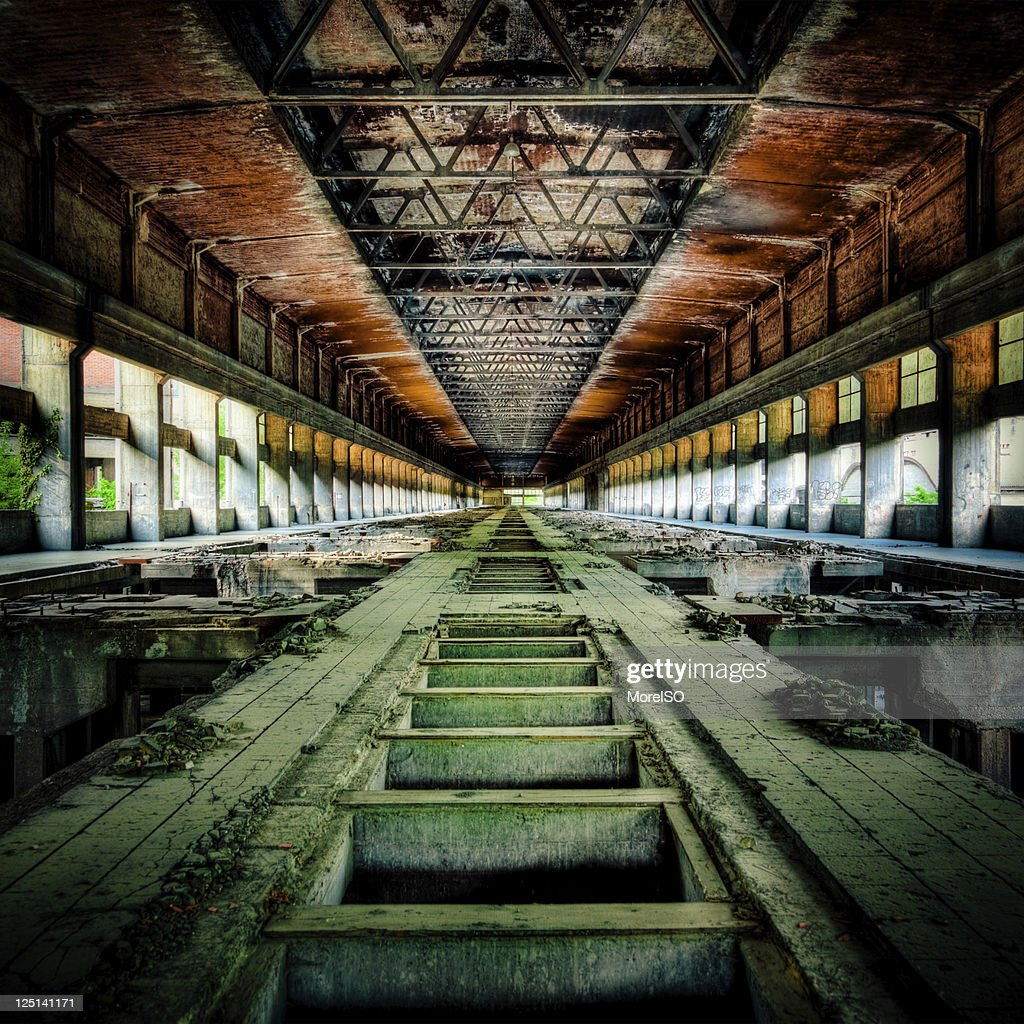 Ruined Factory Abandoned Industry Interior Perspective : Stock Photo