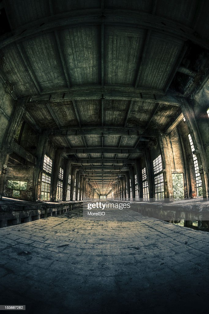Ruined Factory Abandoned Industry Interior Perspective