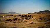 Ruined fortress at the Sai island at Nile river, Sudan