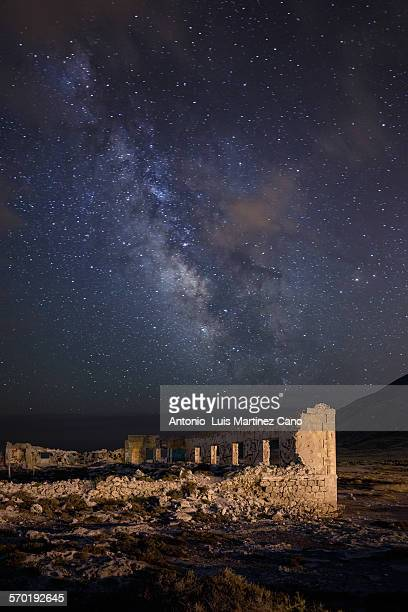 Ruins in Los Escullos and the Milky Way background