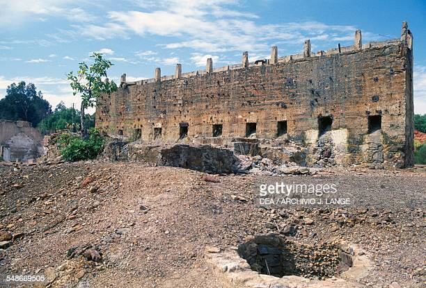 Ruins of a building in the copper mine of Sao Domingos active in the 19th century Alentejo Portugal