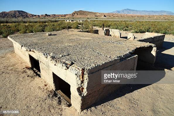Ruins of a structure are shown in the ghost town of St Thomas on August 3 2015 in the Lake Mead National Recreation Area Nevada The town was founded...