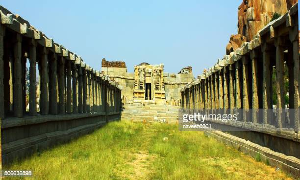 Ruins of an ancient temple in Hampi, Karnataka, India