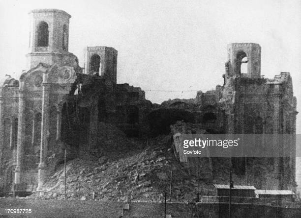 Ruins of cathedral of christ the savior blown up by order of stalin in 1933 moscow ussr