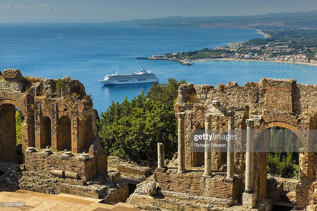 Ruins of Greek Theatre & cruise ship