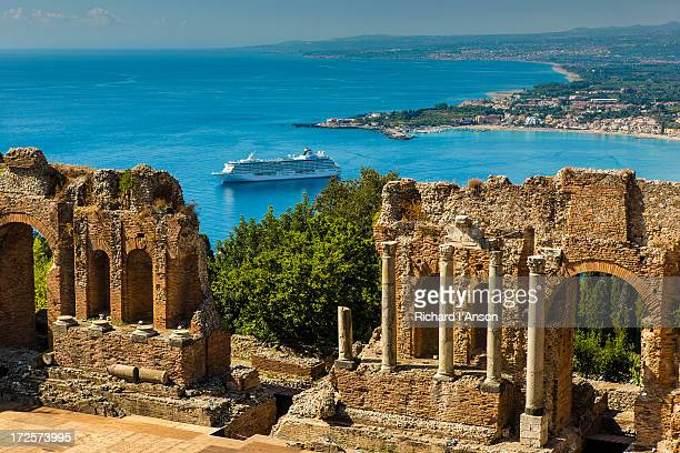 Ruins of Greek Theatre & cruise ship