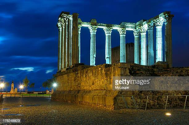 Ruins of Roman temple of Diana at Evora at Dusk Alentejo Portugal