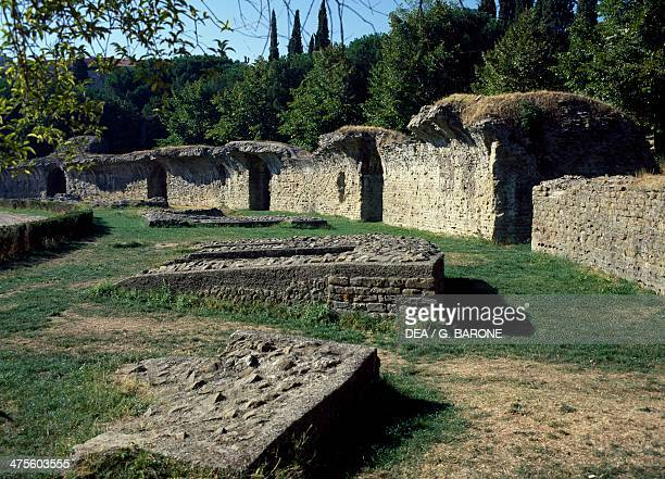 Ruins of the amphitheatre of Arezzo Tuscany Italy Roman civilisation 1st2nd century