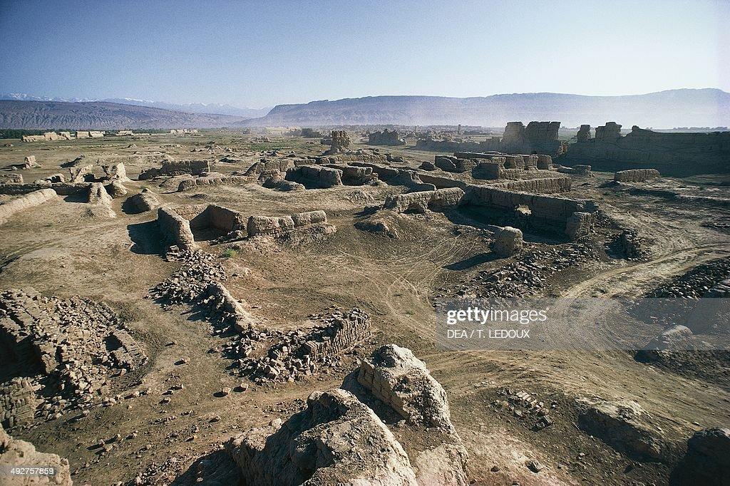 Ruins of the ancient city of Gaochang 1st century BC Taklamakan Desert Xinjiang China